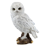 White Snowy Owl On Log Figurine Statue 1