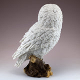 White Snowy Owl On Log Figurine Statue 3