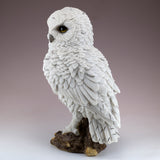 White Snowy Owl On Log Figurine Statue 4