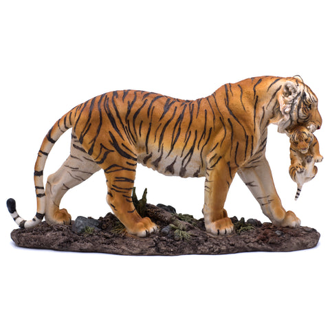 Yellow Orange Tiger With Cub Figurine Statue 1
