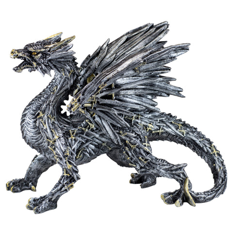 Swords and Knives Dragon Silver Colored Figurine Statue 1