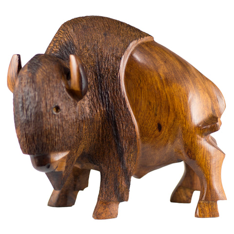 Buffalo Bison Hand Carved Ironwood Wood Figurine 1a