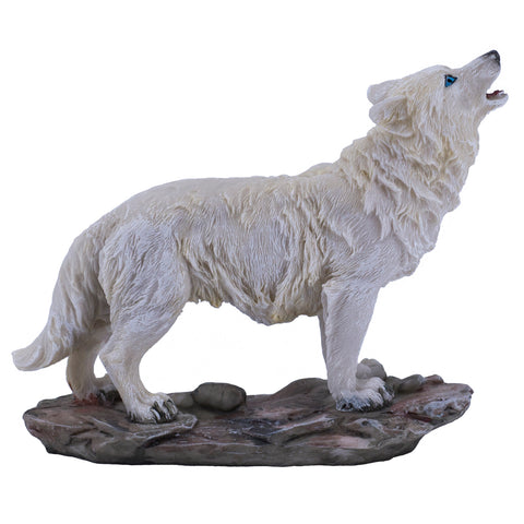 White Wolf Standing Howling Figurine Statue 1