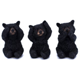 See, Hear, Speak No Evil Black Bear Figurines Statues 1