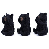 See, Hear, Speak No Evil Black Bear Figurines Statues 2