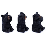 See, Hear, Speak No Evil Black Bear Figurines Statues 4