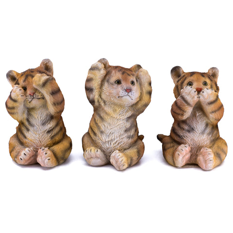 See, Hear, Speak No Evil Orange Bengal Tiger Figurines 1