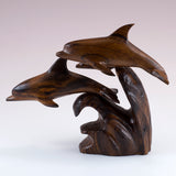 Dolphin School Hand Carved Ironwood Wood Figurine 3