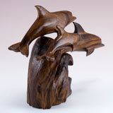 Dolphin School Hand Carved Ironwood Wood Figurine 4
