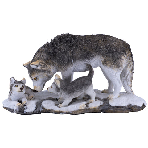 Gray Wolf With Cubs Figurine 1