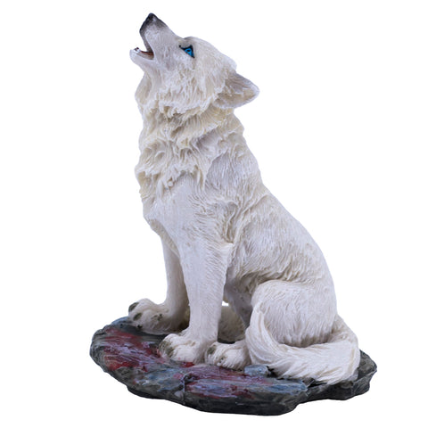 White Wolf Sitting Howling Small Figurine HBH1