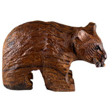 Bear With Fish Hand Carved Ironwood Wood Figurine