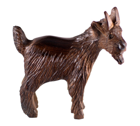 Goat Hand Carved Ironwood Wood Figurine