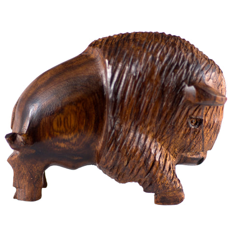 Charging Buffalo Bison Hand Carved Ironwood Wood Figurine 1