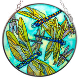 Dragonfly Gathering Hand Painted Glass Suncatcher By AMIA