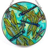 Dragonfly Gathering Hand Painted Glass Suncatcher By AMIA 2
