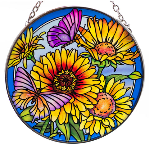 Daisies and Butterflies Suncatcher Glass By AMIA