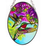 Hummingbird and Fuchsia Suncatcher Glass By AMIA