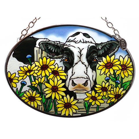 In Daisies Daze Cow Suncatcher Glass By AMIA