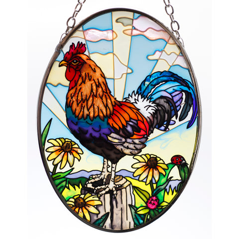 Break of Dawn Rooster Glass Suncatcher By AMIA