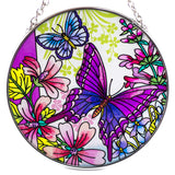 Butterflies and Wildflowers Suncatcher Glass By AMIA 2
