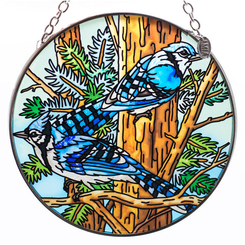 Blue Jay Bird Suncatcher Hand Painted Glass By AMIA
