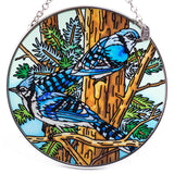 Blue Jay Bird Suncatcher Hand Painted Glass By AMIA 2