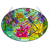 Water Lilies With Dragonflies Suncatcher Glass By AMIA