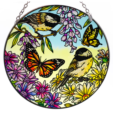 Chicadee Garden Bird Suncatcher Glass By AMIA
