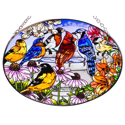 Garden Birdbath Bird Suncatcher Glass By AMIA