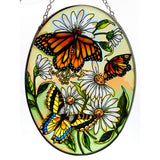 Three Butterflies Monarch Suncatcher Glass By AMIA