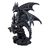 Black Dragon On Castle Figurine Statue 1
