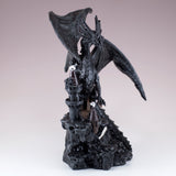 Black Dragon On Castle Figurine Statue 2