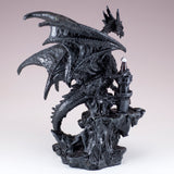 Black Dragon On Castle Figurine Statue 3