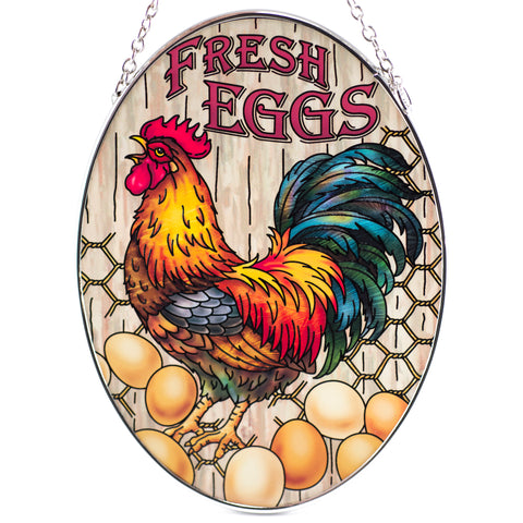 Fresh Eggs Chicken Glass Suncatcher By AMIA