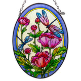 Peonies and Dragonflies Suncatcher Glass By AMIA