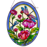 Peonies and Dragonflies Suncatcher Glass By AMIA 2