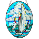 Starboard Tack Sailboats Suncatcher Glass By AMIA