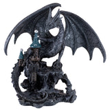 Black Dragon On Castle Figurine Statue 5