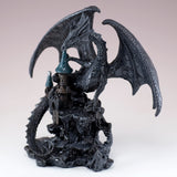 Black Dragon On Castle Figurine Statue 6