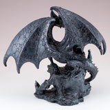 Black Dragon On Castle Figurine Statue 7
