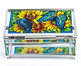 Color On The Prairie Butterfly Glass Trinket Jewelry Box By AMIA