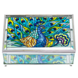 Peacock True Colors Glass Trinket Jewelry Box By AMIA