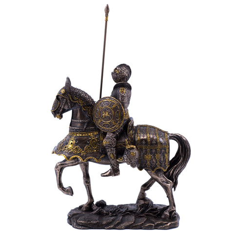 Medieval Armored Knight & Horse Figurine Cold Cast Bronze Statue 1