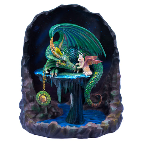 Emerald Green Time Dragon With Cat Fairy Figurine 1