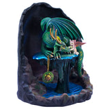 Emerald Green Time Dragon With Cat Fairy Figurine 2
