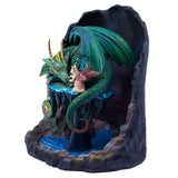 Emerald Green Time Dragon With Cat Fairy Figurine 3