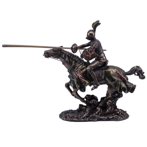 Jousting Armored Knight & Horse Figurine Cold Cast Bronze Statue 1