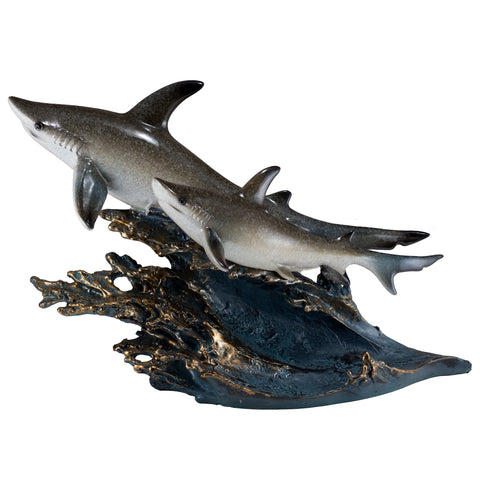 Gray Sharks On Wave Figurine Statue
