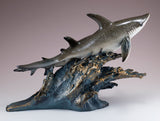 Gray Sharks On Wave Figurine Statue 3